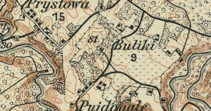 Puidogalio (Pujdogale) kaimo planas Pirmojo pasaulinio karo metais. Ištrauka iš Prūsijos (Vokietijos) karinių topografų parengto Vokietijos imperijos Kartenos apylinkių žemėlapio. 1916 m.