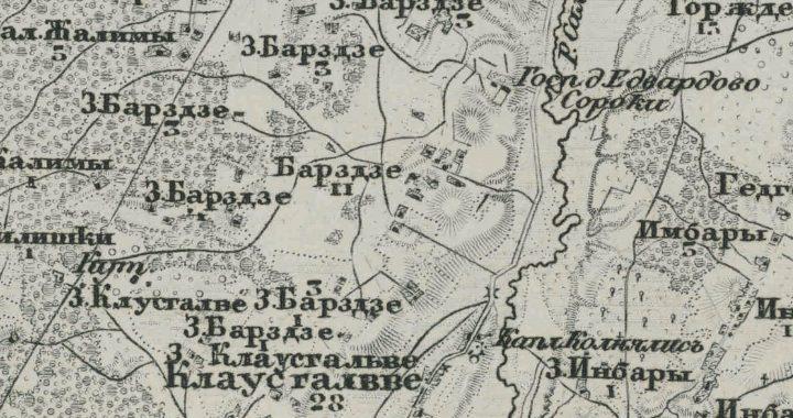 Kupetinio Barzdžių kaimo planas. XIX a. vidurys. Ištrauka iš Rusijos karinių kartografų 1872 m. parengto Kretingos apylinių žemėlapio.