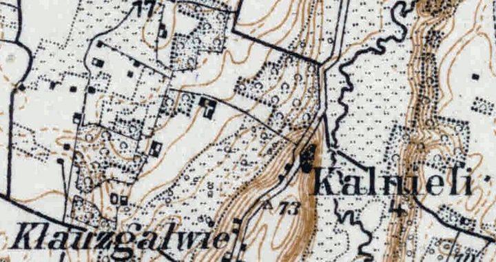 Kalnalio planas 1895–1915 m. duomenimis. Ištrauka iš Vokietijos karinių topografų parengto ir 1915 m. išleisto Salantų apylinkių topografinio žemėlapio.