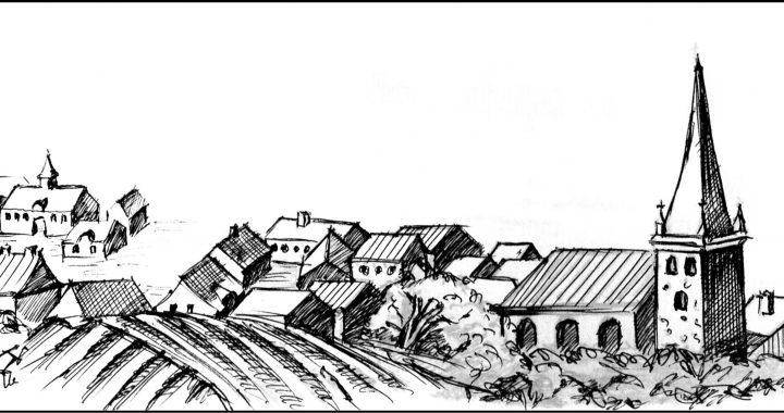 """Hipotetinė miesto panorama XVIII a. pradžioje. Pagal Alfredo Bumblausko knygoje """"Senosios Lietuvos istorija. Vilnius, 2005"""" publikuotą švedų autoriaus graviūrą piešė Inga Idaitė. 2017 m. Kretingos muziejus."""