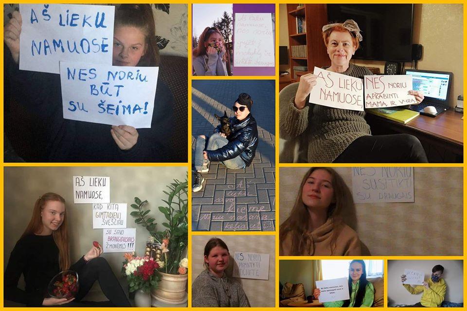 """Kretingos Simono Daukanto progimnazijos mokinių taryba kartu su savo kuratore mokytoja Sigita Dermeitiene socialiniuose tinkluose skelbia akciją """"Lieku namuose, nes..."""" Organizatorių nuotr."""