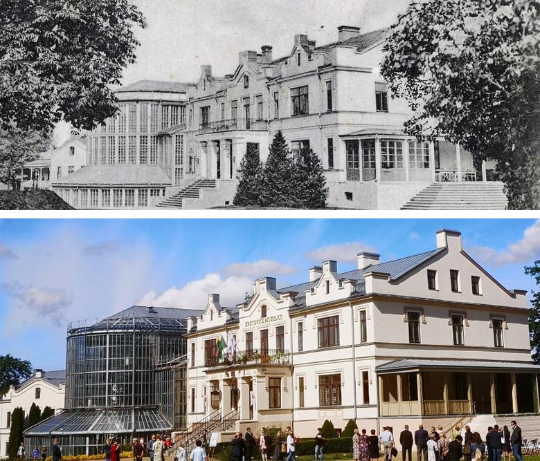 """Štai taip atrodė Kretingos dvaro rūmų veranda prieš kone 100 metų (viršuje), o štai taip ji atrodo šiandien. ,,Švyturio"""" foto koliažas."""