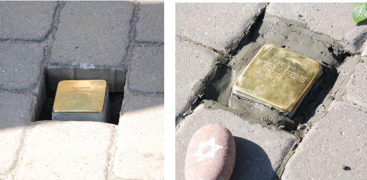 """Du """"Atminimo akmenys"""" – memorialinės plytelės, skirtos Holokausto aukoms atminti – profesionaliam prieškario Darbėnų fotografui Elijahu Bruckui ir nužudytai 16-metei žydaitei Esterai Kvelerytei."""