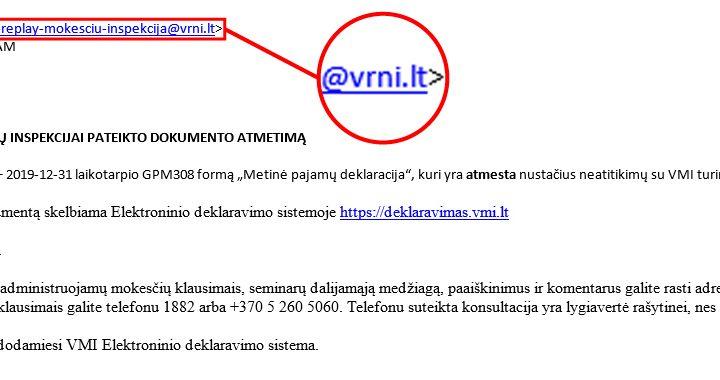 Sukčių siunčiamo laiško prisidengiant VMI vardu pavyzdys.
