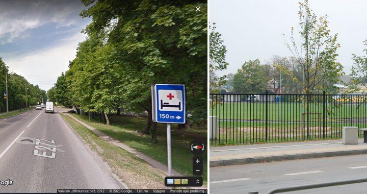 2012 m. Žemaitės alėjos ligoninės stotelės vaizdas iš Google vaizdų archyvo prieš gatvės rekonstrukciją ir dabar.