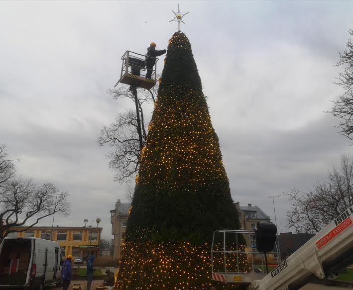 Šiandien miesto centre jau puošiama Kalėdų eglė. Ligitos Sinušienės nuotr.