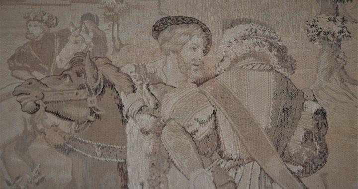 Naujasis Kretingos muziejaus eksponatas išaustas sudėtinga žakardo technika. Autorės nuotr.