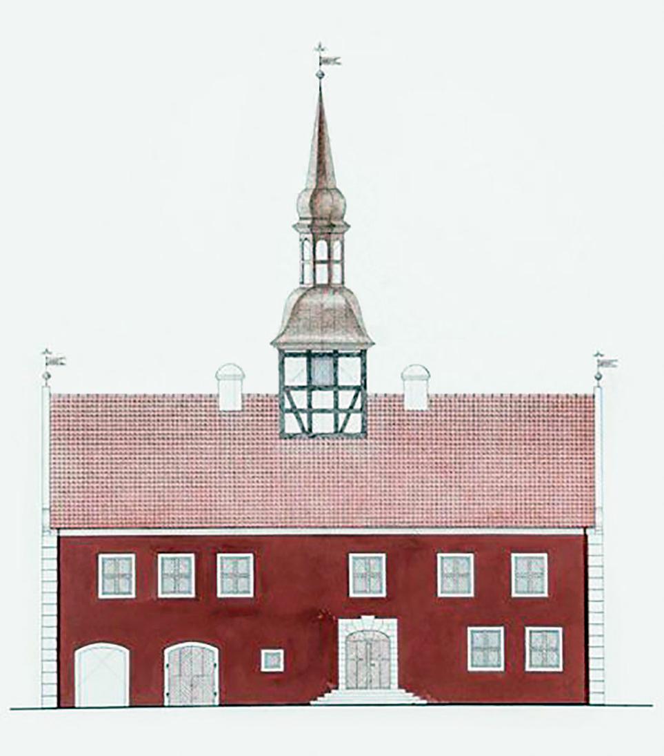 Po 1615 m. pastatytos Bauskės rotušės restauracijos projektas, parengtas pagal 1840 m. brėžinius. Rekonstr. aut. I. Bakulė. 1988 m.