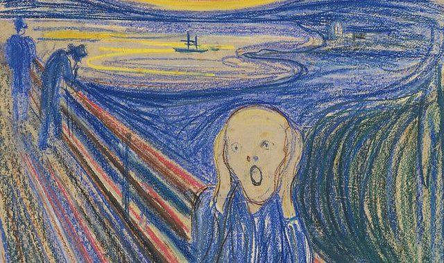 """Egzistencinę baimę perteikiantis norvegų menininko Edvardo Muncho tapytas portretas """"Šauksmas"""",  antras pagal garsumą meno kūrinys visoje meno istorijoje."""