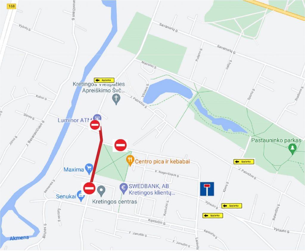 Trečiadienį, 2021-07-21 dieną, nuo 9:00 iki 18:00 val. eismas uždaromas pagal šią schemą: