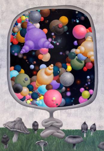 Alter ego meditacija grybų pievelėje (Alter ego meditation on a mushroom lawn) 90x130 cm, drobė, akrilas, 2020 m
