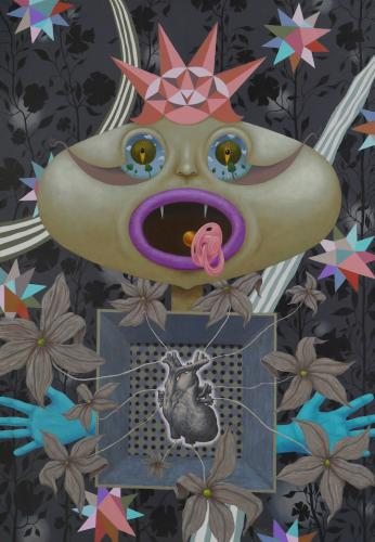 Žiba žvaigždės, žydi gėlės, o princesė - įsimylėjus 130x90cm, drobė, akrilas, 2017m