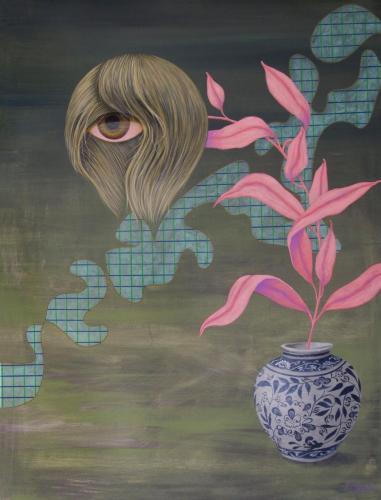 gėlėlė 90x70 cm, drobė, akrilas, 2020 m
